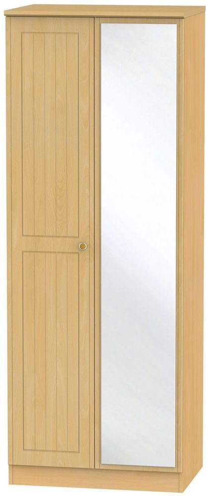 Warwick Beech Wardrobe - Tall 2ft 6in with Mirror