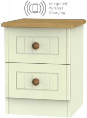 Warwick Cream and Oak 2 Drawer Bedside Cabinet with Integrated Wireless Charging