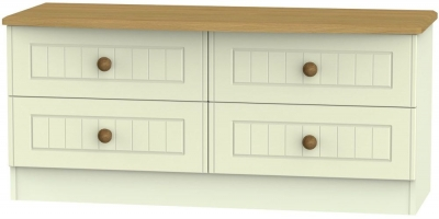 Warwick Cream and Oak Bed Box - 4 Drawer