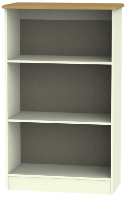 Warwick Cream and Oak Bookcase - 2 Shelves