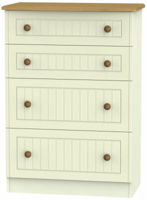 Warwick Cream and Oak 4 Drawer Deep Chest