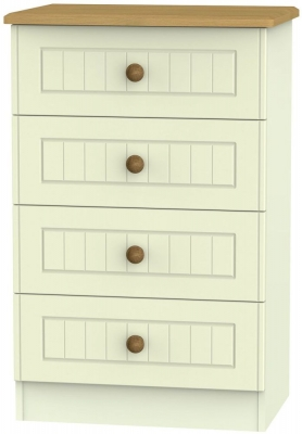 Warwick Cream and Oak 4 Drawer Midi Chest