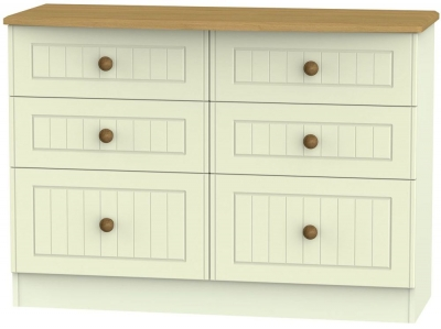 Warwick Cream and Oak 6 Drawer Midi Chest