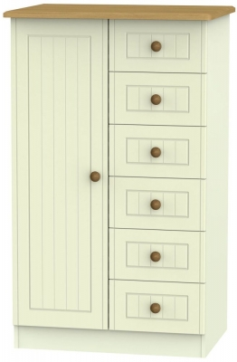 Warwick Cream and Oak 1 Door Children Wardrobe