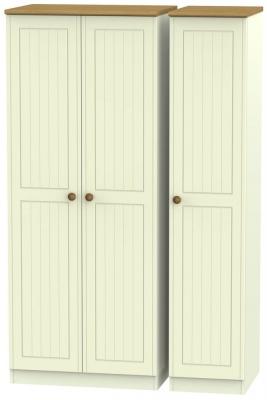 Warwick Cream and Oak 3 Door Plain Triple Wardrobe