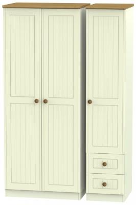 Warwick Cream and Oak 3 Door Plain Wardrobe