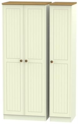 Warwick Cream and Oak 3 Door Tall Plain Wardrobe