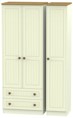 Warwick Cream and Oak 3 Door 2 Left Drawer Tall Wardrobe