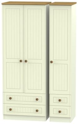 Warwick Cream and Oak 3 Door 4 Drawer Tall Wardrobe
