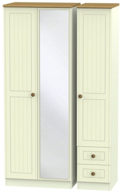 Warwick Cream and Oak 3 Door 2 Right Drawer Tall Mirror Wardrobe