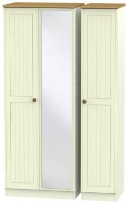 Warwick Cream and Oak 3 Door Tall Mirror Wardrobe