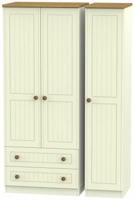 Warwick Cream and Oak 3 Door 2 Left Drawer Wardrobe