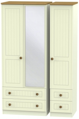 Warwick Cream and Oak 3 Door 4 Drawer Mirror Wardrobe