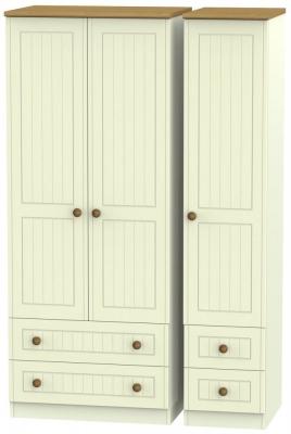 Warwick Cream and Oak 3 Door 4 Drawer Wardrobe