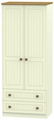 Warwick Cream and Oak 2 Door 2 Drawer Wardrobe