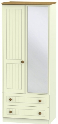 Warwick Cream and Oak 2 Door Mirror Combi Wardrobe