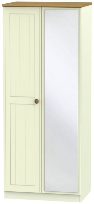 Warwick Cream and Oak 2 Door Mirror Wardrobe