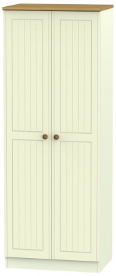 Warwick Cream and Oak 2 Door Tall Hanging Wardrobe