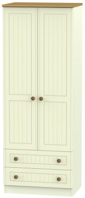Warwick Cream and Oak 2 Door Tall Wardrobe