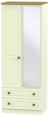 Warwick Cream and Oak 2 Door Tall Mirror Combi Wardrobe