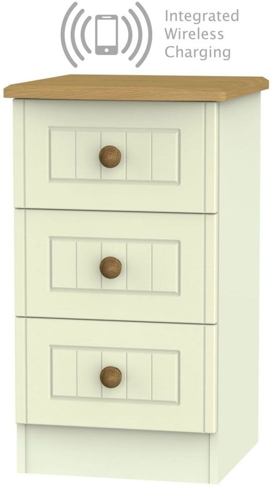 Warwick Cream and Oak 3 Drawer Bedside Cabinet with Integrated Wireless Charging