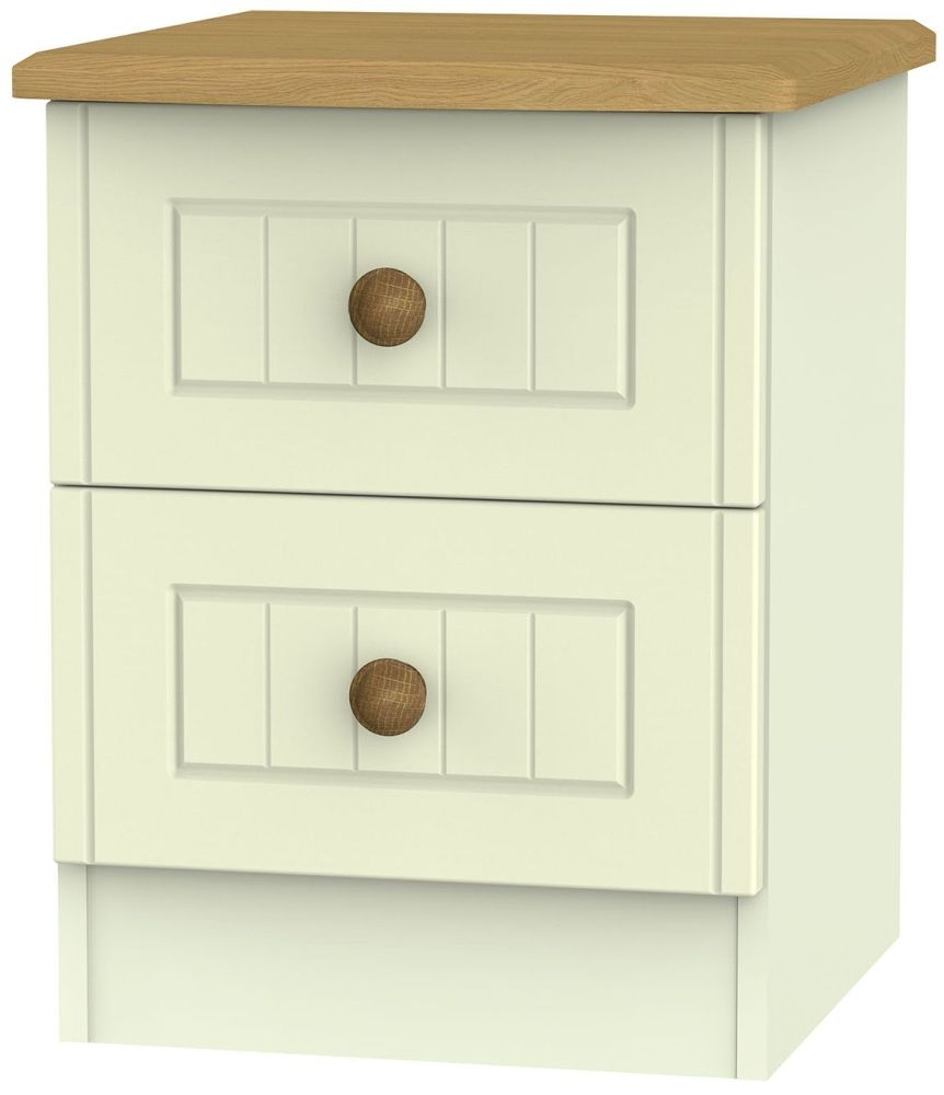 Warwick Cream and Oak Bedside Cabinet - 2 Drawer Locker