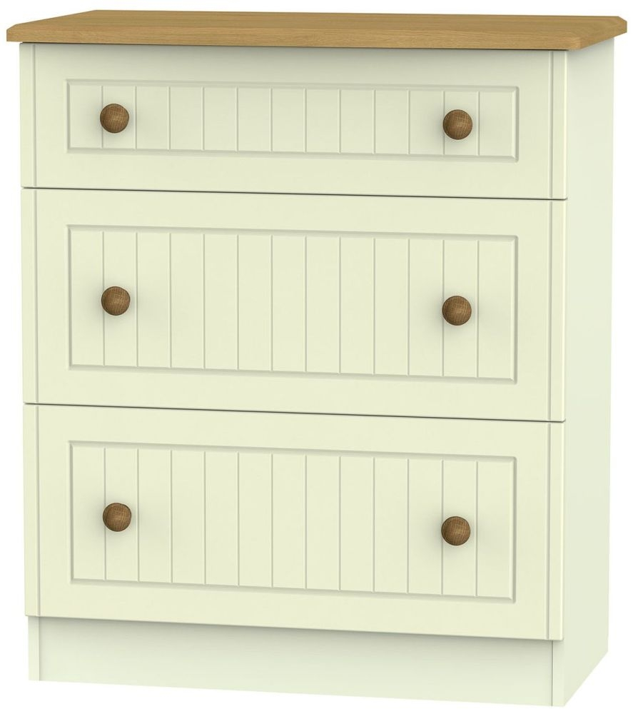 Warwick Cream and Oak 3 Drawer Deep Chest