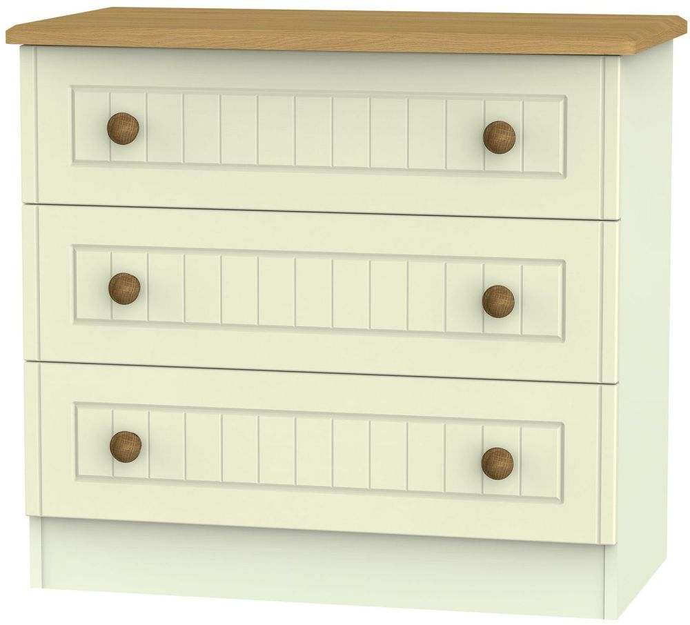Warwick Cream and Oak Chest of Drawer - 3 Drawer