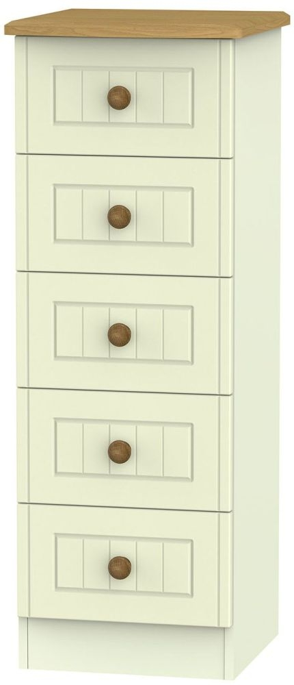 Warwick Cream and Oak Chest of Drawer - 5 Drawer Locker