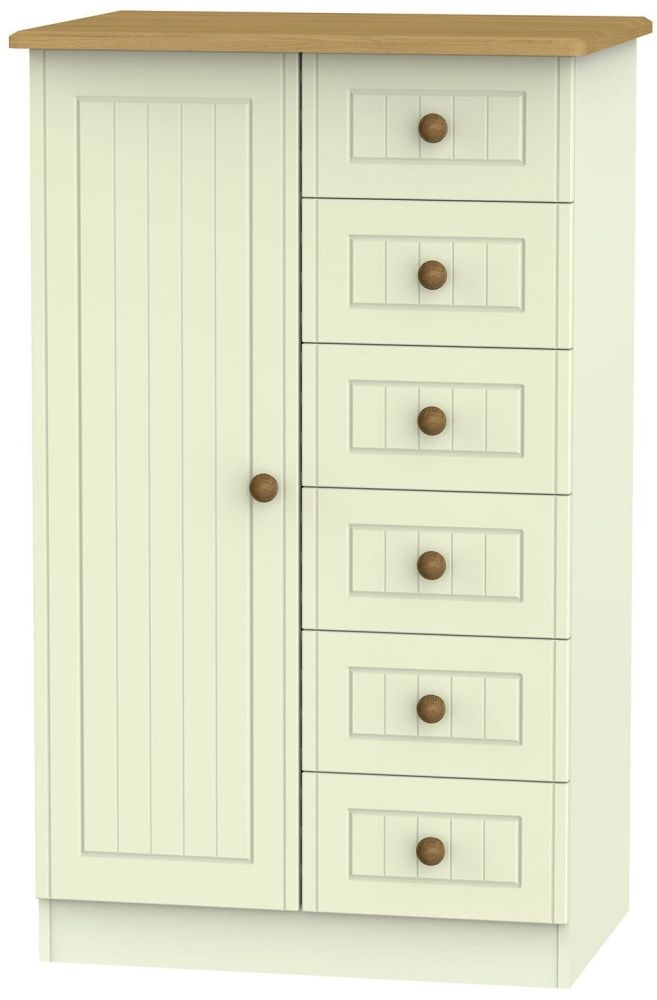 Warwick Cream and Oak 1 Door 6 Drawer Children Wardrobe