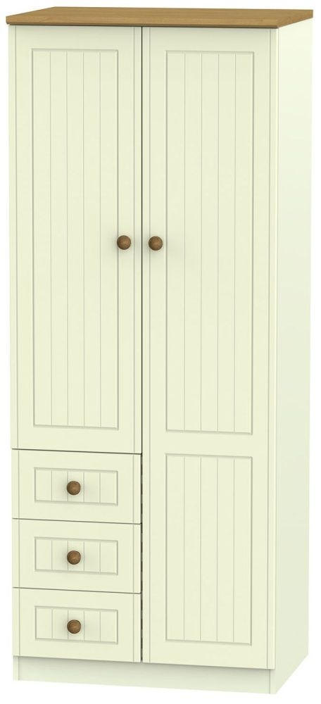Warwick Cream and Oak Combination Wardrobe - 2ft 6in