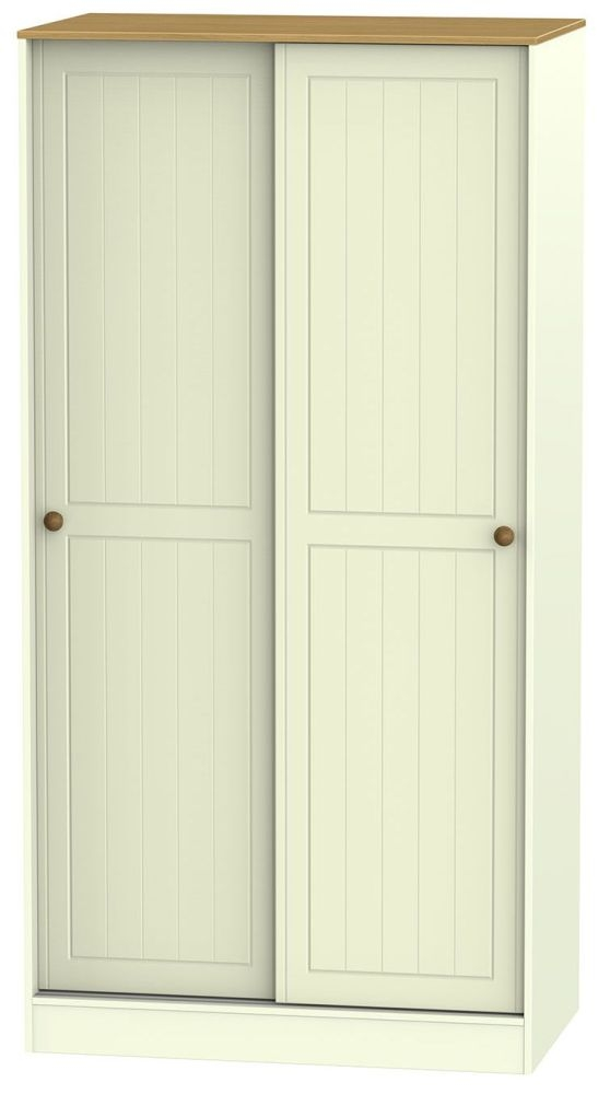 Warwick Cream and Oak Sliding Wardrobe - 100cm Wide