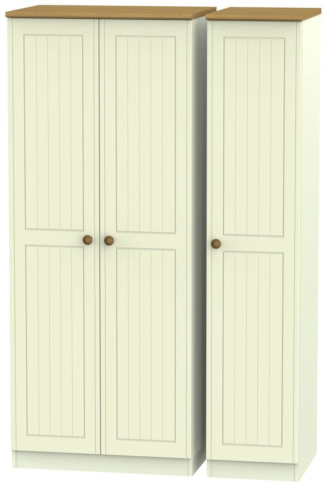 Warwick Cream and Oak Triple Plain Wardrobe