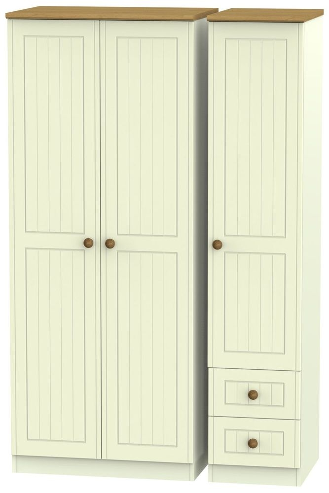 Warwick Cream and Oak 3 Door 2 Drawer Plain Triple Wardrobe