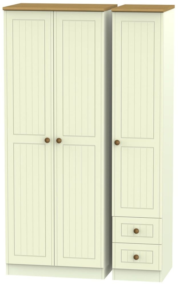 Warwick Cream and Oak 3 Door 2 Drawer Tall Plain Triple Wardrobe