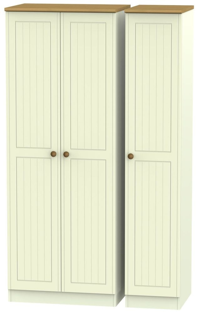 Warwick Cream and Oak 3 Door Tall Plain Triple Wardrobe