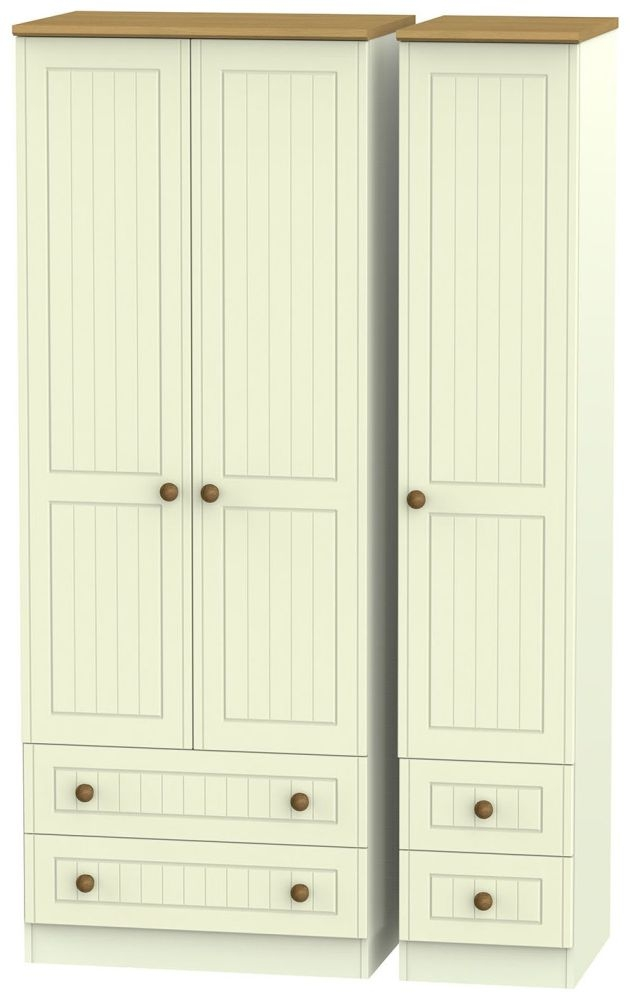 Warwick Cream and Oak 3 Door 4 Drawer Tall Triple Wardrobe