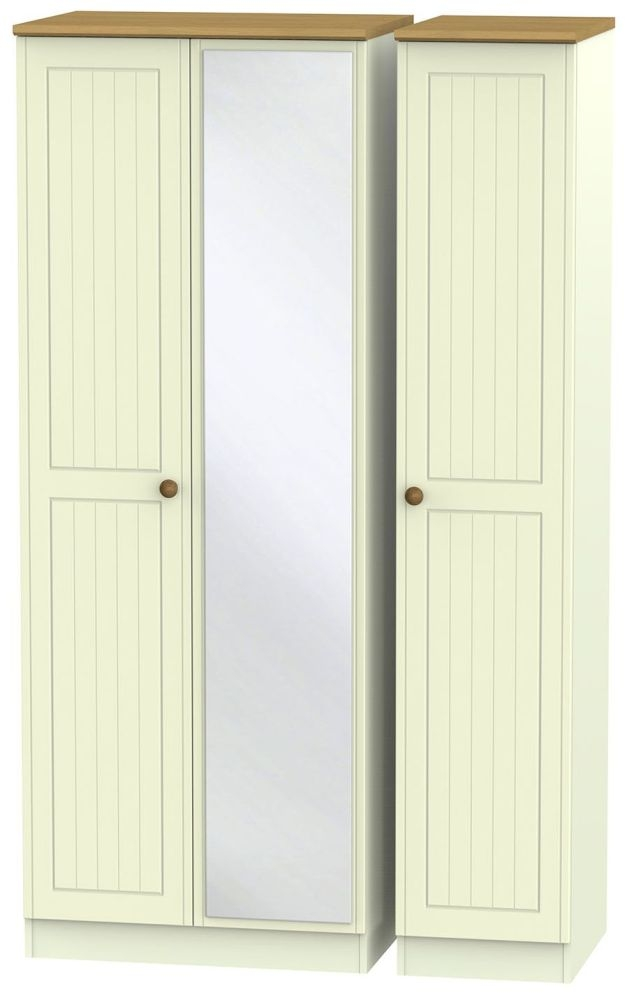 Warwick Cream and Oak 3 Door Tall Mirror Triple Wardrobe