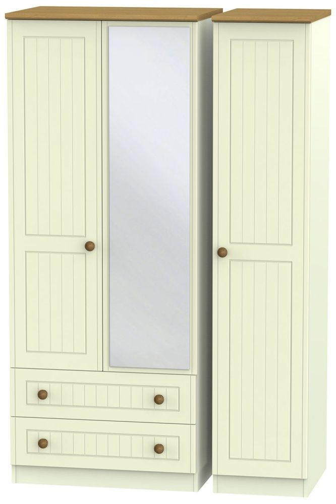 Warwick Cream and Oak 3 Door 2 Left Drawer Mirror Triple Wardrobe