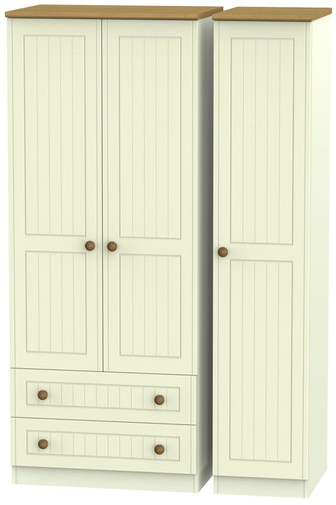 Warwick Cream and Oak 3 Door 2 Drawer Triple Wardrobe