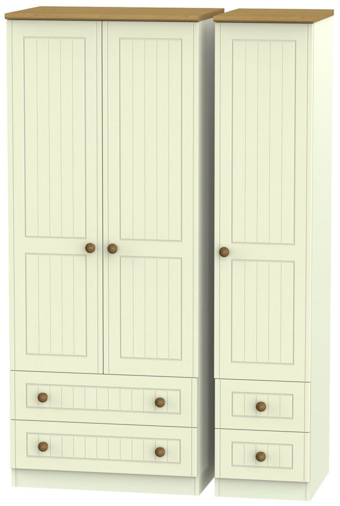 Warwick Cream and Oak 3 Door 4 Drawer Wardrobe