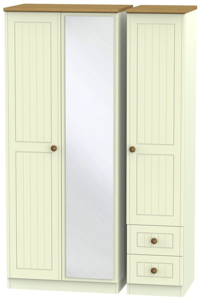 Warwick Cream and Oak 3 Door 2 Right Drawer Mirror Triple Wardrobe