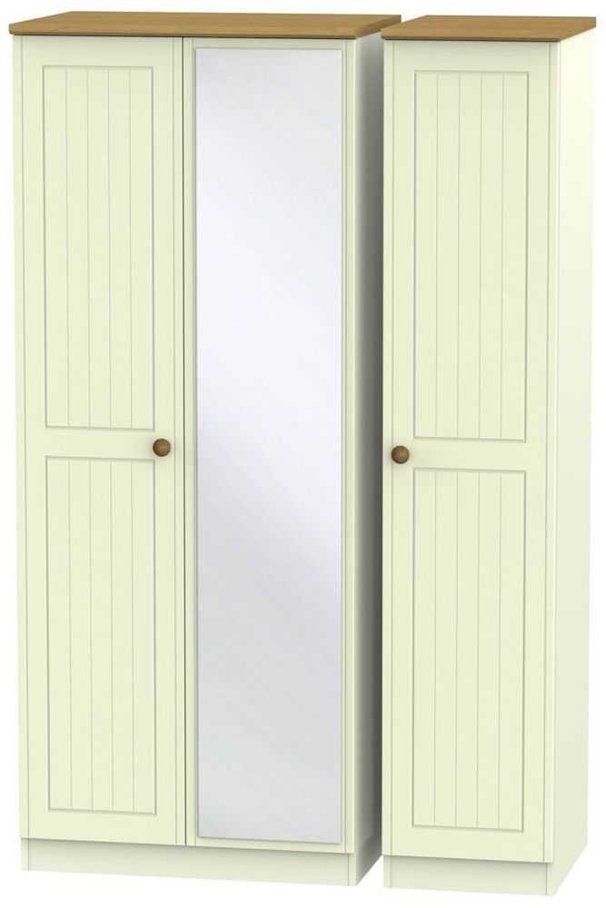 Warwick Cream and Oak 3 Door Mirror Wardrobe