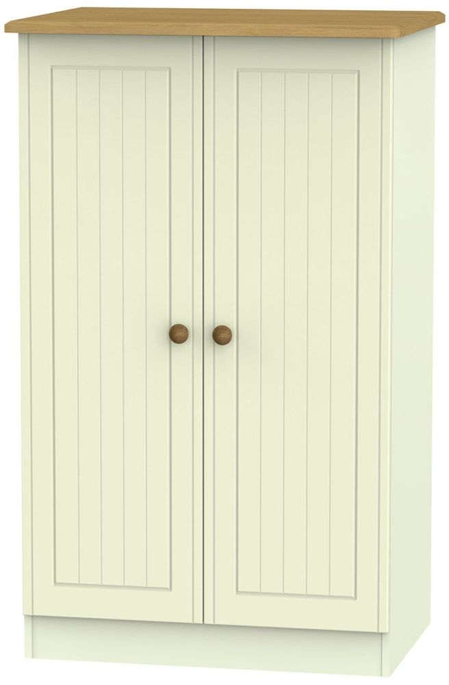 Warwick Cream and Oak 2 Door Plain Midi Wardrobe