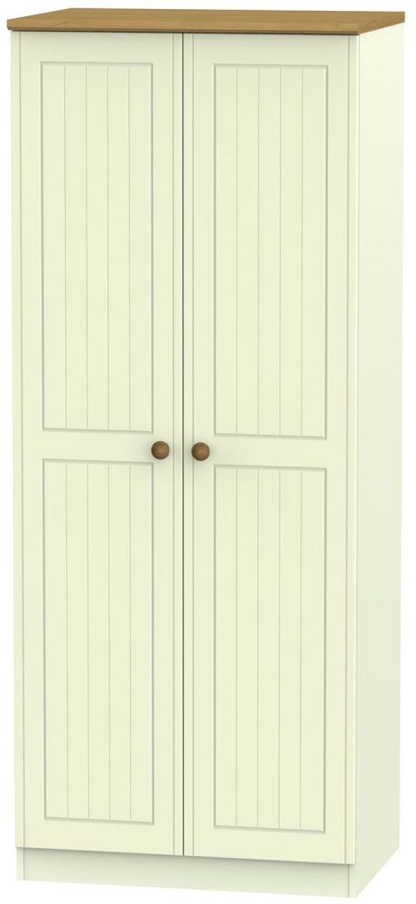 Warwick Cream and Oak 2 Door Plain Wardrobe