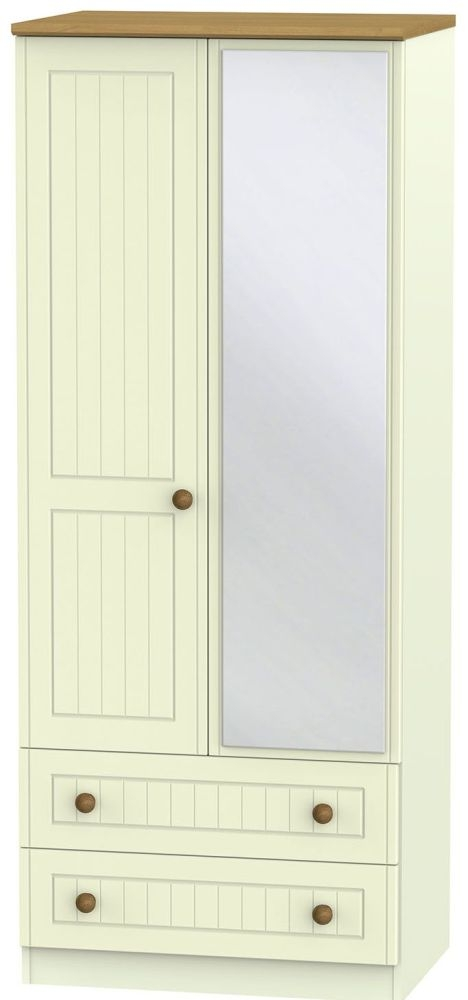 Warwick Cream and Oak 2 Door 2 Drawer Mirror Wardrobe