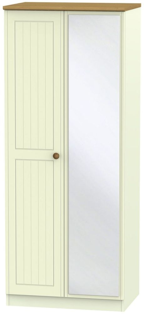 Warwick Cream and Oak 2 Door Mirror Wardrobe