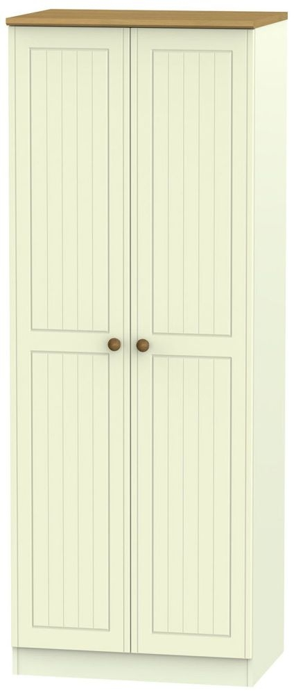 Warwick Cream and Oak 2 Door Tall Double Hanging Wardrobe