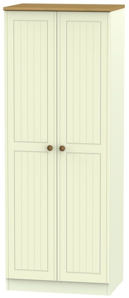 Warwick Cream and Oak 2 Door Tall Plain Wardrobe