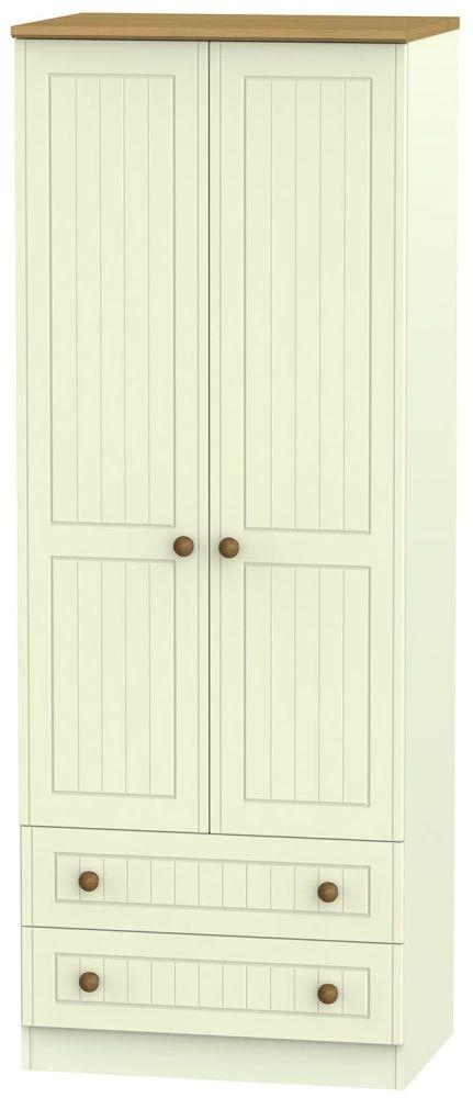 Warwick Cream and Oak 2 Door Tall Wardrobe